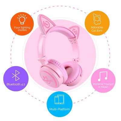 US!Foldable Wireless Bluetooth Cat Ear Headset LED Gaming Headphone For Computer