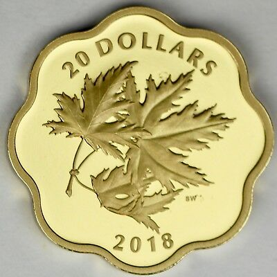 "2018 $20 Iconic Maple Leaves Pure Silver Gold Plated Scallop Edge ""Masters Club"""
