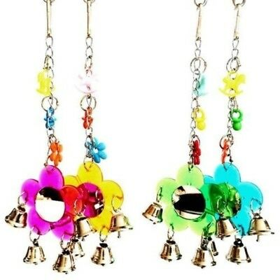 Parrot Toys Bird Flower Mirror Budgie Parrot hanging Creative Toy Bell Present
