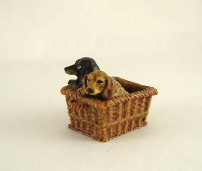 Franz Bergmann Vienna Austria TWO DACHSHUND RELAXING in BASKET Bronze Dog Brass