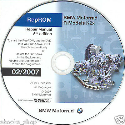 DVD MANUALE OFFICINA REPROM K2X WORKSHOP BMW R1200GS-R-RT-S-ST,HP2,R900RT 07 prm
