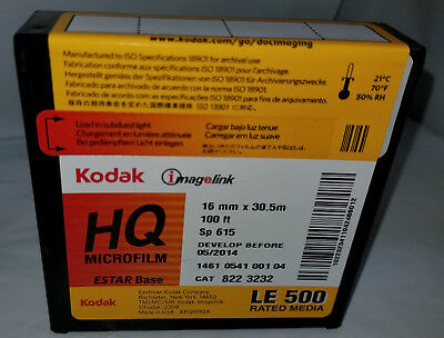 KODAK IMAGELINK HQ Estar SP 615 16mm x 100ft. MICROFILM REEL/STOCK FILM 05/2014