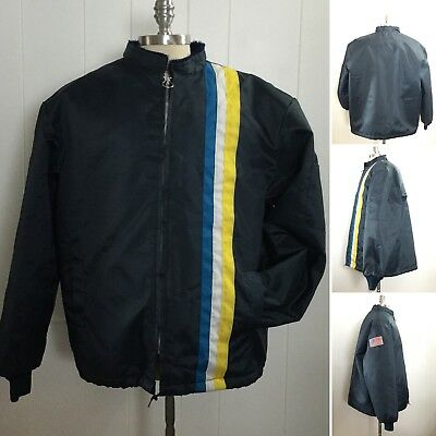 Vtg 70s 80s Bell Telephone Employee Racer Stripe Nylon Great Lakes Work Jacket