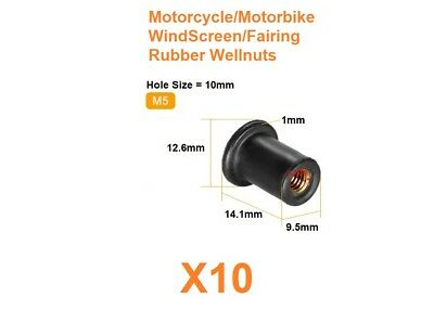 10 x M5 Motorcycle / Motorbike Windscreen / Fairing Well Nuts / Rubber Wellnuts