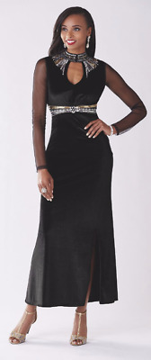 2f5f5026365 Ashro Black Formal Beaded Silver Gold Sequin Genai Gown Dress Cruise Party  XL 2X