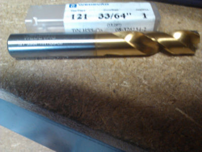 ".5156"" 33/64"" COBALT TiN COATED SCREW MACHINE LENGTH DRILL"