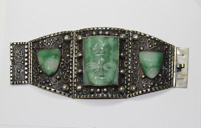 MEXICAN STERLING & GREEN JADE Bracelet: Wide, Heavy, Vintage, Heads       (5E10)