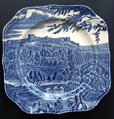 Vintage England Johnson Brothers Road To Windsor Square Blue Ironstone Plate