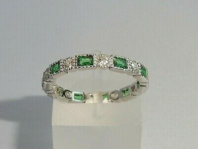 Ladies Art Deco Halo Style 925 Sterling Silver Sapphire & Emerald Eternity Ring
