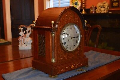 Antique Bracket Clock Inlaid Case C. 1910