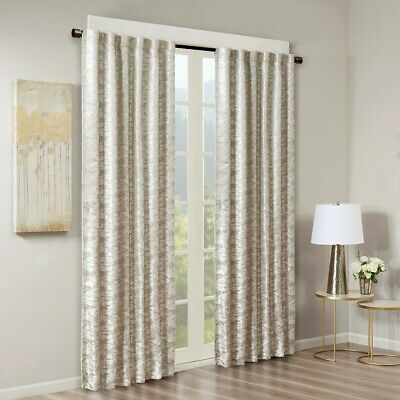 Luxury Grey & Silver Jacquard TOTAL BLACKOUT Rod Pocket/Back Tabs Curtain Panel
