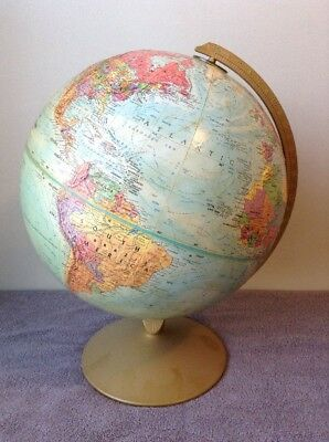 "Vintage 12"" Diameter Globe Replogle World Nation Series Classic Raised Relief"