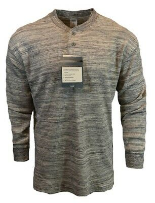 8242798c Mens Thermal Button Up Crew Neck Pullover Henley Shirt Long Sleeve Hi Tec  NEW