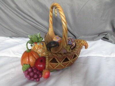 """Jim Shore Stone Resin Thanksgiving Basket With 3 Eggs - Hand Painted 8 1/2"""" T E3"""