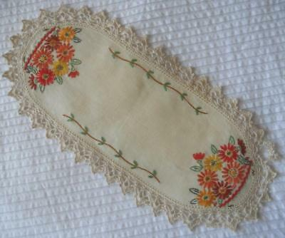 Vintage Embroidered Linen Sandwich Plate Doily Red Yellow Flowers Lace Edging