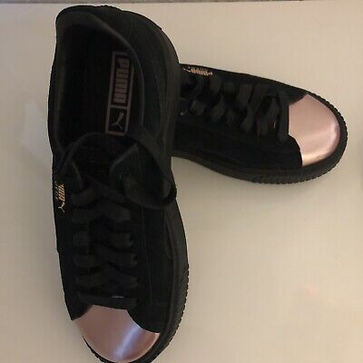 9854ac43568 Puma Basket Platform Metallic Rose Gold Toe Women s Sneakers SIZE 7.5 NEW