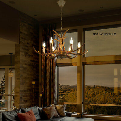 Retro Antler Chandelier Light Deer Horn Restaurant Dining Pendant Lamp Brown
