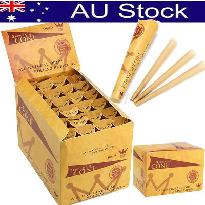 24 X Pack 72 Cones 110MM Natural Brown Rolling Paper Pre-Rolled Cones