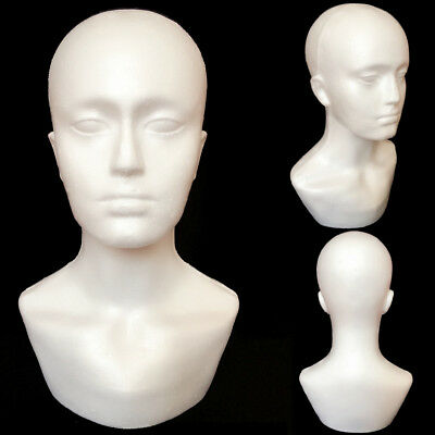 15'' Polystyrene Foam Unisex Male Female Display Mannequin Head Dummy Wig Stand