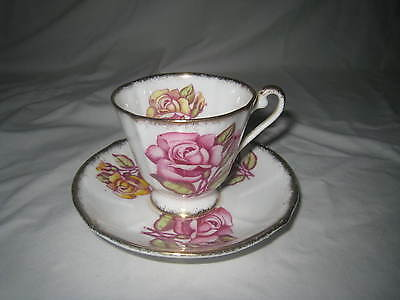 Roslyn Bone China Tea Cup & Saucer Pink Roses *made In England*