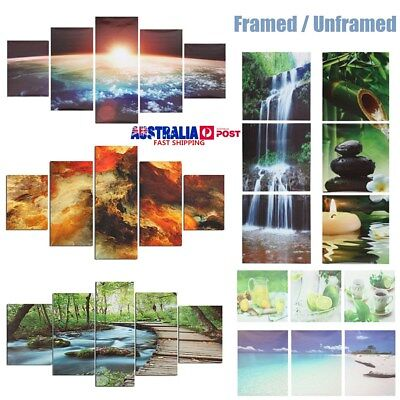 3/5 Pcs Art Oil Painting Canvas Print Pictures Home Wall Decor Framed / Unframed