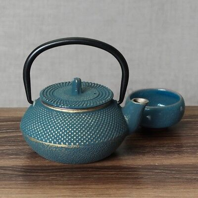 AU 300ml Blue Japanese Style Cast Iron Kettle Tetsubin Teapot + Strainer Tea Pot