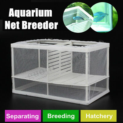 Aquarium Fish Tank Guppy Breeding Newborn Baby Breeder Trap Box Hatchery Net S/L