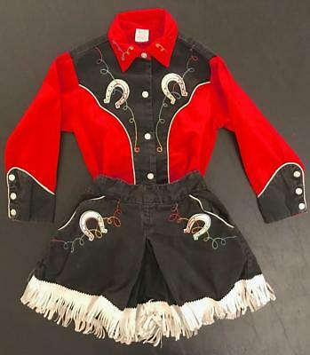 Vintage 1950s Girl's Cowgirl Western Outfit Set Red Black Culotte Skirt Blouse