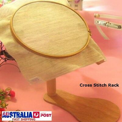Embroidery Hoop Wooden Frame Cross Stitch Rack Stand Adjustable 35-46cm 2018