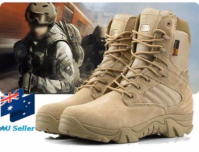 AU Men's Military Army Ankle Desert Combat Boots Tactical Hiking Outdoor Shoes