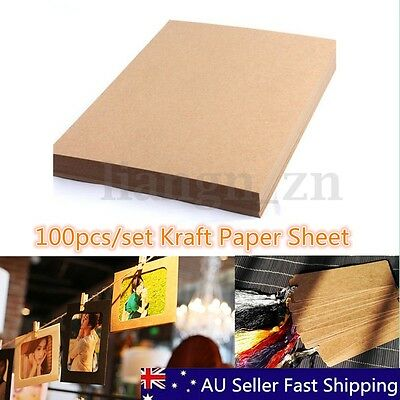 100 Sheet A4 Kraft Paper Brown Blank Sheets Recycled Card DIY Wedding Crafts
