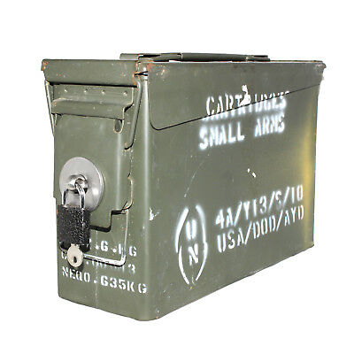 "30 CAL ""LOCKABLE"" Ammo Box Ammunition Steel Box Tool Box Ex Army Used CODE: AB1L"