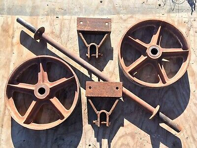 Antique Industrial Factory Cart Vtg Cast Iron Metal Wheel Bracket Set Steampunk