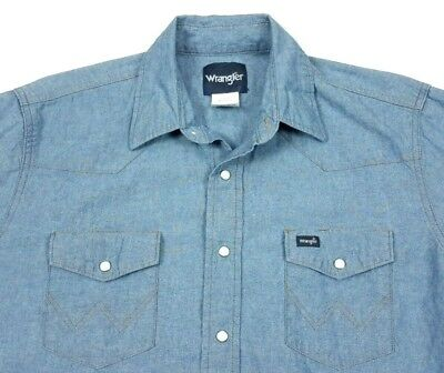 Vintage Wrangler Mens Chambray Long Sleeve Pearl Snap Western Shirt Large