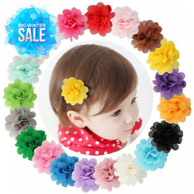 Dooppa 20PCS Chiffon Flowers Baby Girls Hair Clips Snap Alligator Barrettes