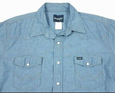 Vintage Wrangler Mens Chambray Long Sleeve Pearl Snap Western Shirt XL