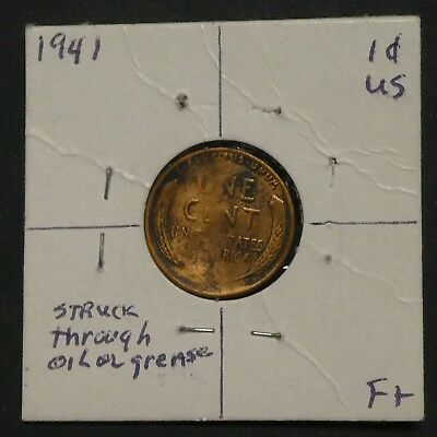 1941 1C Lincoln Cent Penny Mint Error Coin ROTATED DIE WEST STRUCK THRU
