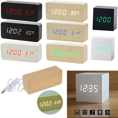 Wooden LED Digital Alarm Clock Voice Control Calendar Thermometer USB/AAA Decor