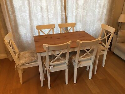 Ikea Lerhamn Dining Table And Six Ingolf Chairs