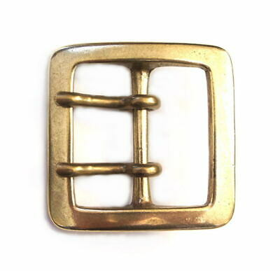 40mm SOLID BRASS HEAVY SQUARE BUCKLE Double Prong Garrison Leather Belt Japan