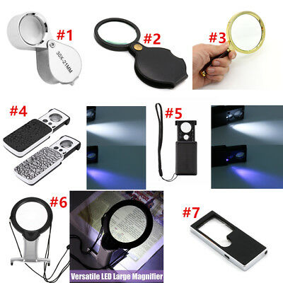 3X 5X 6X 10X 30X 60X 90X LED Light Magnifying Jeweller Magnifier Glass Eye Loupe