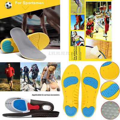 Men EVA/Gel Orthotic Sport Running Insoles Insert Shoe Pad Arch Support Cushion