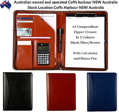 Work School Business Leather A4 Zipper Writing Compendium Pen Calculator Cards