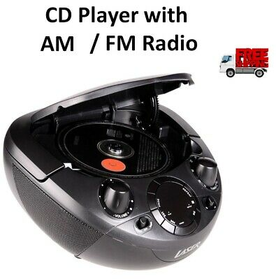 Portable CD Player Boombox with AM/FM Radio CD/ CD-R/RW Disc Compatible