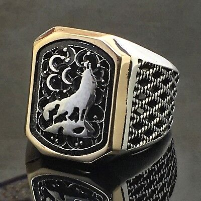 925 Sterling Silver Mens Ring Turkish Ottoman howling Wolf free resizing