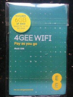 EE PAYG 4G Data SIM Preloaded With 6GB of Data over 3 Months