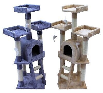 Kitten Cat Tree Scratch Post Sisal Toy Activity Centre Grey/Beige with cat nip
