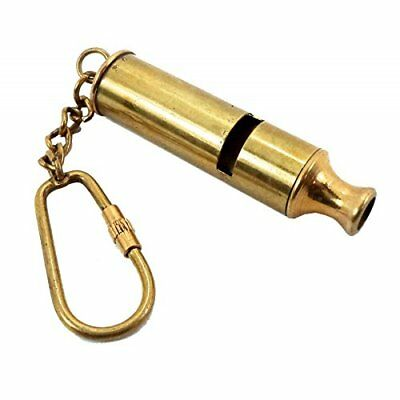 Brass Police Whistle Key Chain- Collectible Marine Nautical Key Ring from Brass