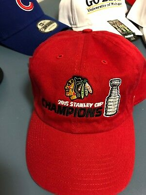 ... clearance chicago blackhawks 2015 stanley cup champions hat cap new mens  red one size low b26cc 9e630db8c