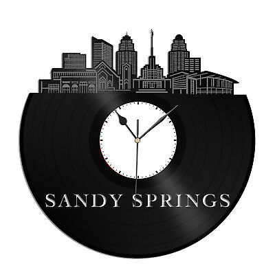 Sandy Springs GA Vinyl Wall Clock City Vintage Gift for Office Home Decoration